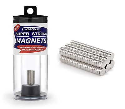Magcraft Rare Earth Magnets 1/8''x1/32'' Rare Earth Disc Magnets (150)