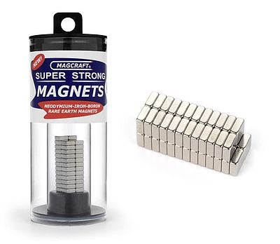 Magcraft Rare Earth Magnets 1/4''x1/4''x1/10'' Rare Earth Block Magnets (50)
