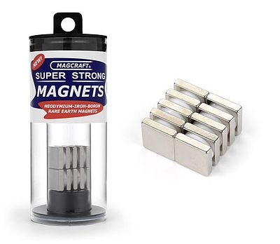Magcraft Rare Earth Magnets 1/2''x1/2''x1/8'' Rare Earth Block Magnets (10)
