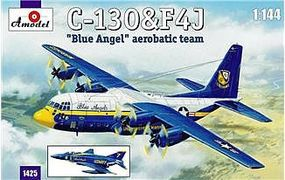 A-Model-From-Russia C130 Hercules & F4J Blue Angel Aerobatic Team Plastic Model Airplane Kit 1/144 Scale #1425