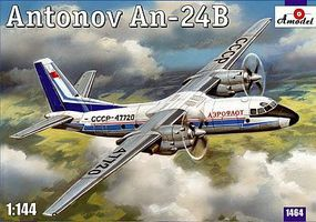 A-Model-From-Russia Antonov An24B Passenger Airliner Plastic Model Airplane Kit 1/144 Scale #1464
