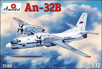 A-Model From Russia An32B Cargo/Civilian Aircraft -- Plastic Model Airplane Kit -- 1/72 Scale -- #72180