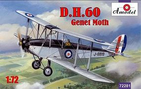 A-Model-From-Russia DH60 Genet Moth Biplane Plastic Model Airplane Kit 1/72 Scale #72281