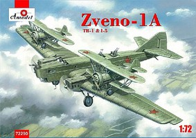A-Model-From-Russia Zveno 1A TB1 & I5 Fighter/Bomber (New Tool) Plastic Model Airplane Kit 1/72 #72290
