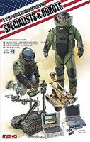 Meng US EOD Specialists & Robots Plastic Model Military Figure Kit 1/35 Scale #hs