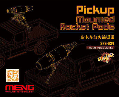 Meng Model Kits Pickup Mounted Rocket Pods -- Plastic Model Vehicle Accessory -- 1/35 Scale -- #sps034