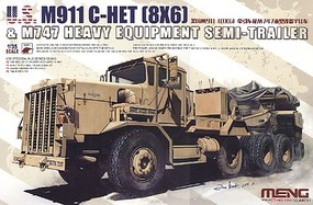 Meng M911 C-HET Heavy Tractor & M747 Heavy Equipment Semi-Trailer Plastic Model Kit 1/35 #ss13