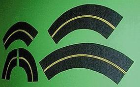 Mini-Hwy 6' Curved Roadway Yellow Centerline Model Railroad Road Accessory N Scale #103