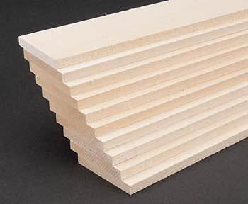 Midwest Basswood 2 Sheets (1/4 x 2 x 24) (10) Hobby and Craft Building Supplies #4115