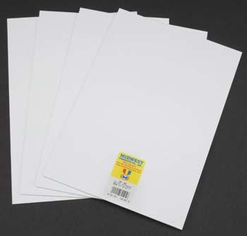 Midwest Styrene Sheets, White, .030 x 7.6 x 11 (4)