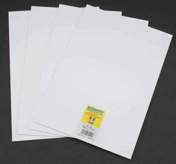 Midwest Styrene Sheets, White, .040 x 7.6 x 11 (4)