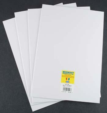 Midwest Styrene Sheets, White, .080 x 7.6 x 11 (4)