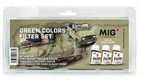 MIG Enamel Green Colors Filter Set (3) 35ml Bottles