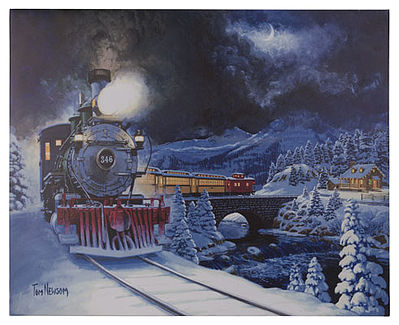 Mr Christmas Illum Train Print 16 x 20 Canvas Illuminated Print -- Model Railroad Puzzle Print Sign -- #10275