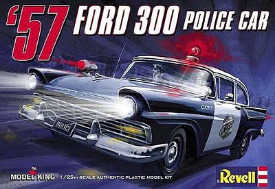 Model King Kits 1957 Ford Police Car -- Plastic Model Car Kit -- 1/25 Scale -- #4081