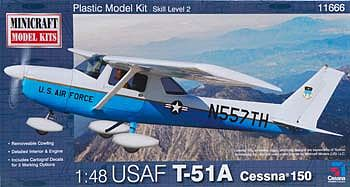 Minicraft Models Cessna 150 USAF ATC -- Plastic Model Airplane Kit -- 1/48 Scale -- #11666