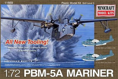 Minicraft Models Martin Mariner PBM5/5A w/2 USN Marking -- Plastic Model Airplane Kit -- 1/72 Scale -- #11669
