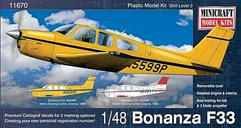 Minicraft Models Beechcraft Bonanza F33 Straight Tail Debonair -- Plastic Model Airplane Kit -- 1/48 -- #11670