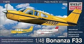 Minicraft Beechcraft Bonanza F33 Straight Tail Debonair Plastic Model Airplane Kit 1/48 #11670