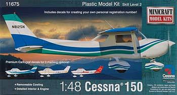 Minicraft Models Cessna 150 -- Plastic Model Airplane Kit -- 1/48 Scale -- #11675