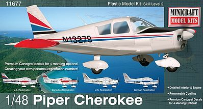 Minicraft Models Piper Cherokee Plane -- Plastic Model Airplane Kit -- 1/48 Scale -- #11677