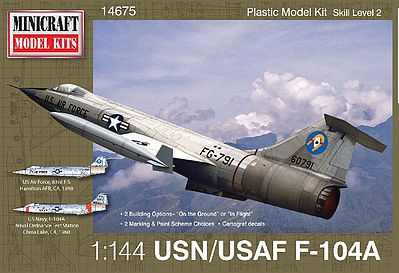 Minicraft Models F-104A -- Plastic Model Airplane Kit -- 1/144 Scale -- #14675