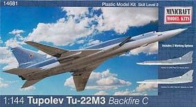 Minicraft TU 22m Backfire Plastic Model Airplane Kit 1/144 Scale #14681