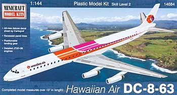 Minicraft Models DC-8-63 Hawaiian Air -- Plastic Model Airplane Kit -- 1/144 Scale -- #14684