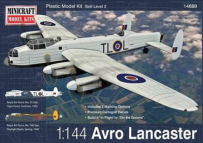 Minicraft Avro Lancaster RAF/RCAF w/2 Marking Options Plastic Model Airplane Kit 1/144 Scale #14689