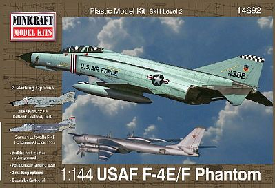 Minicraft F-4E Phantom ADC/RAF Plastic Model Airplane Kit 1/144 Scale #14692