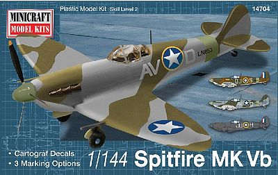 Minicraft Spitfire Vb USAAF/RAF w/2 Marking Options Plastic Model Airplane Kit 1/144 Scale #14704