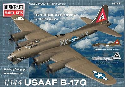 Minicraft Models B-17G USAAF Mercy's Madhouse w/2 Marking Option -- Plastic Model Airplane Kit -- 1/144 -- #14712