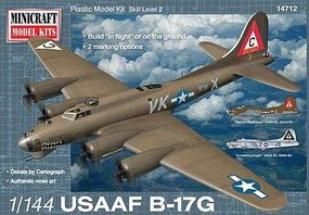 Minicraft B-17G USAAF Mercys Madhouse w/2 Marking Option Plastic Model Airplane Kit 1/144 #14712
