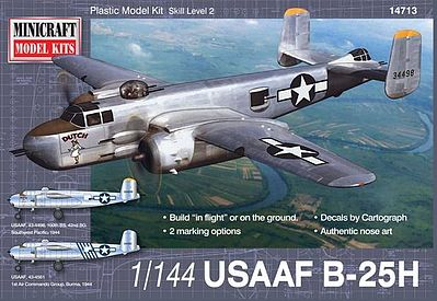 Minicraft B-25H USAAF with 2 Marking Options Plastic Model Airplane Kit 1/144 Scale #14713