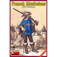 Mini-Art French Musketeer XVII Plastic Model Military Figure 1/16 Scale #16009