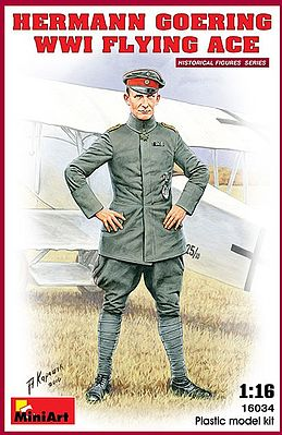 Mini-Art Hermann Goering WWI Flying Ace (New Tool) -- Plastic Model Military Figure -- 1/16 Scale -- #16034