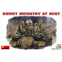 Mini-Art WWII Soviet Infantry at Rest (4) Plastic Model Military Figure 1/35 Scale #35001