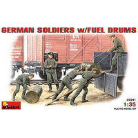 Mini-Art German Soldiers with Fuel Drums Plastic Model Military Figure 1/35 Scale #35041