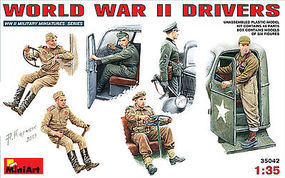 Mini-Art WWII Drivers (6 figures) Plastic Model Military Figure 1/35 Scale #35042