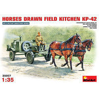 Mini-Art KP42 Soviet Horse Drawn Field Kitchen Plastic Model Military Diorama Kit 1/35 Scale #35057