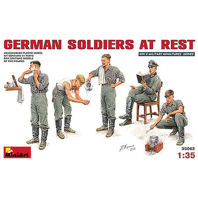 Mini-Art German Soliders at Rest Plastic Model Military Figure 1/35 Scale #35062