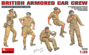 Mini-Art British Armored Car Crew (5) Plastic Model Military Figure 1/35 Scale #35069