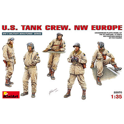 Mini-Art US Tank Crew NW Europe (5) -- Plastic Model Military Figure -- 1/35 Scale -- #35070