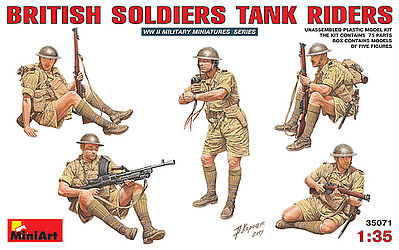 Mini-Art British Soldiers Tank Riders -- Plastic Model Military Figure -- 1/35 Scale -- #35071
