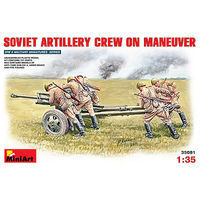 Mini-Art Soviet Artillery Crew (5) on Maneuver Plastic Model Military Figure 1/35 Scale #35081