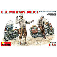 Mini-Art US Military Police 2 w/2 Motorcycles Plastic Model Military Figure 1/35 Scale #35085