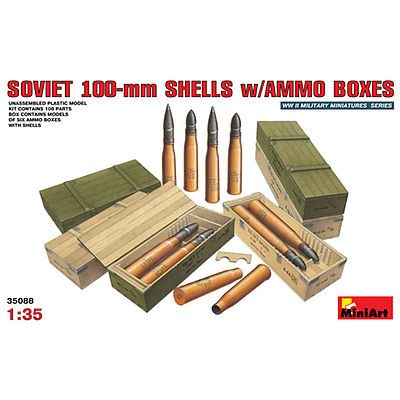 Mini-Art Soviet 100mm Shells w/Ammo Boxes Plastic Model Military Diorama Kit 1/35 Scale #35088