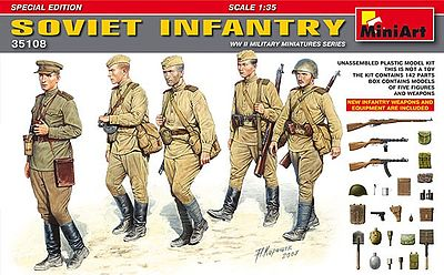 Mini-Art Soviet Infantry (5) with Weapons & Equipment Plastic Model Military Figure 1/35 #35108