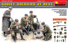 Mini-Art Soviet Soldiers at Rest Special Edition Plastic Model Military Figure 1/35 Scale #35109