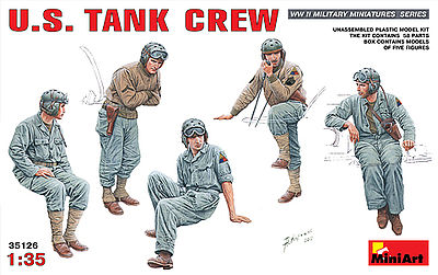 Mini-Art US Tank Crew -- Plastic Model Military Figure -- 1/35 Scale -- #35126